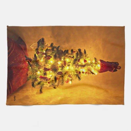 Toalla de cocina del árbol de navidad del vintage