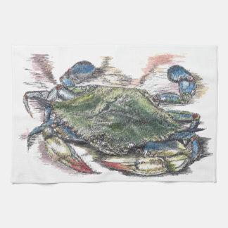 Toalla de cocina del cangrejo azul