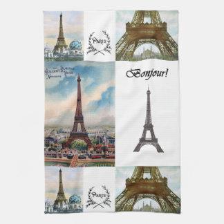 Toalla de cocina del collage de la torre Eiffel
