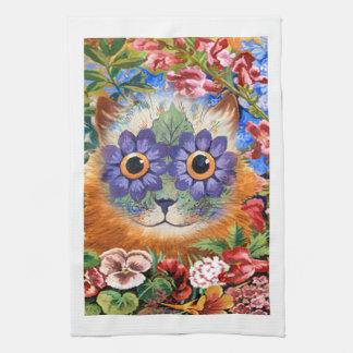 Toalla de cocina del gato de la flor de Louis Wain
