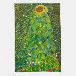 Toalla de cocina del girasol de Gustavo Klimt