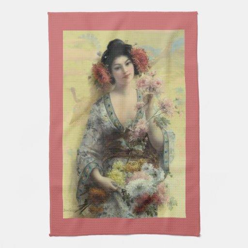 Toalla de cocina del melocotón del geisha del vint