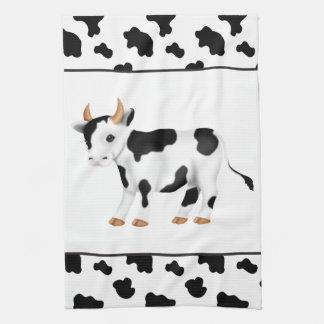 Toalla de cocina del país de la vaca del dibujo
