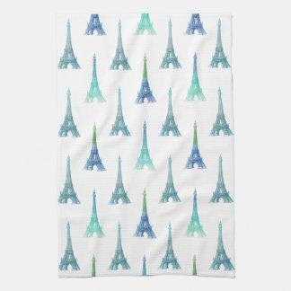 Toalla de cocina del verde azul de la torre Eiffel