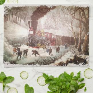 Toalla de cocina encuadernada del tren de la nieve