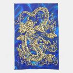 Toalla de cocina enorme del satén azul del dragón