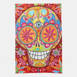 Toalla de cocina enrrollada colorida del cráneo de