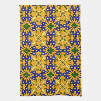 Toalla de cocina española amarilla azul anaranjada