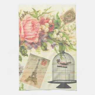 Toalla de cocina floral de París del pájaro del