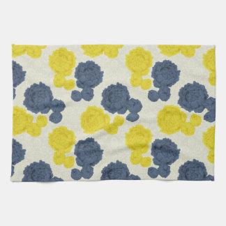 Toalla de cocina floral del vintage de los azules