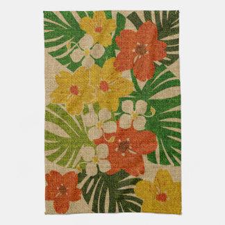 Toalla de cocina floral hawaiana del jardín de