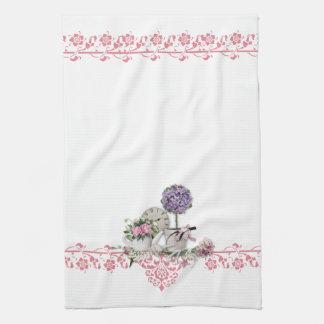 Toalla de cocina floral rosada elegante lamentable