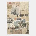 Toalla de cocina francesa del collage de la postal