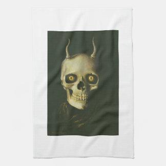 Toalla de cocina gótica del cráneo del diablo