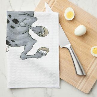Toalla de cocina loca del caballo del dibujo anima