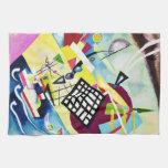 Toalla de cocina negra de la rejilla de Kandinsky