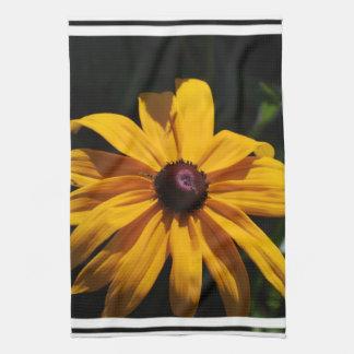 Toalla de cocina negra y amarilla de la flor