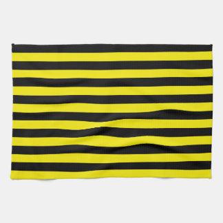 Toalla de cocina negra y amarilla de las rayas