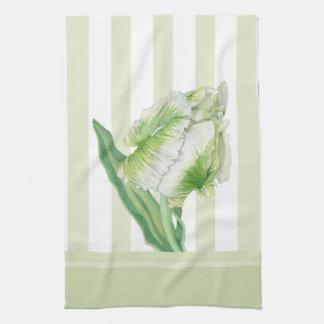 Toalla de cocina poner crema verde del tulipán