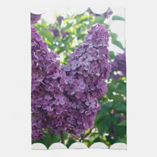 Toalla de cocina púrpura de las lilas