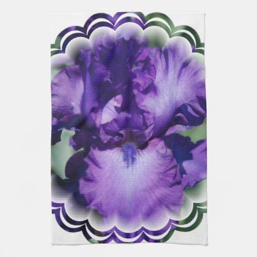 Toalla de cocina púrpura del iris barbudo