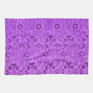 Toalla de cocina púrpura floral del vintage