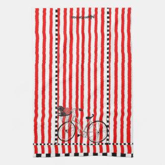 Toalla de cocina rayada de la bicicleta