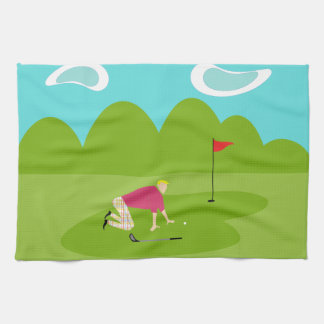 Toalla de cocina retra del golfista