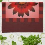 Toalla de cocina roja de la flor #2 de la margarit