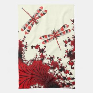 Toalla de cocina roja de las libélulas