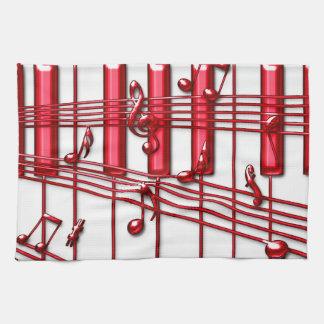 Toalla de cocina roja del teclado de piano