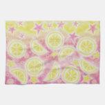 Toalla de cocina rosada de la limonada