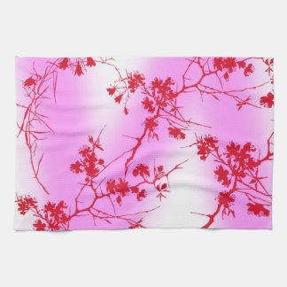 Toalla de cocina rosada de los flores de la cereza