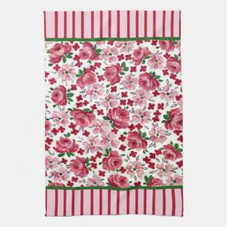 Toalla de cocina rosada de los rosas del vintage
