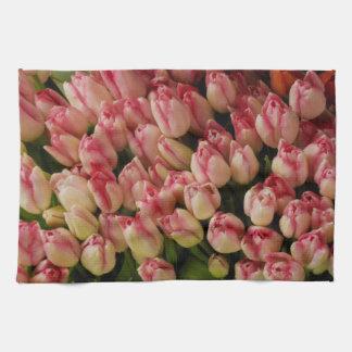 Toalla de cocina rosada de los tulipanes