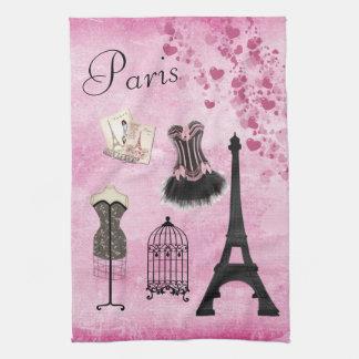 Toalla de cocina rosada femenina elegante de la
