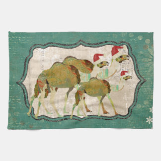 Toalla de cocina soñadora festiva de los camellos