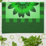 Toalla de cocina verde de la flor #2 de la margari