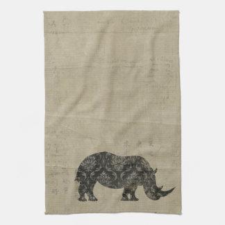 Toalla de la silueta de los rinocerontes negros de