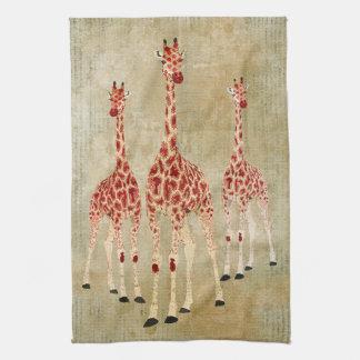 Toalla de las jirafas del rosa rojo del vintage