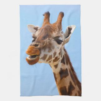 Toalla de mano del retrato de la jirafa