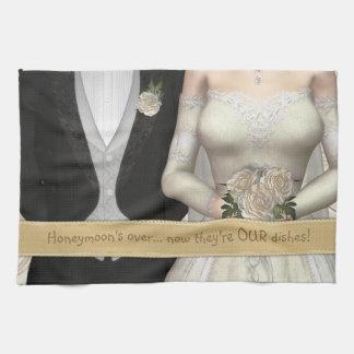 Toalla de plato divertida (blanca) de novia y del