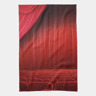 Toalla de plato roja de la cocina del teatro de la