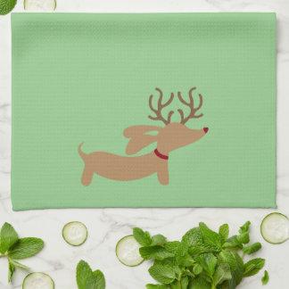 Toalla de plato verde del navidad del Dachshund