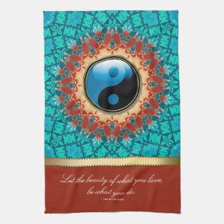 Toalla de té azul de la cita del arte de la edad