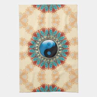 Toalla de té azul de la flor de la edad de YinYang