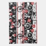Toalla de té de la cesta de la flor de la bici