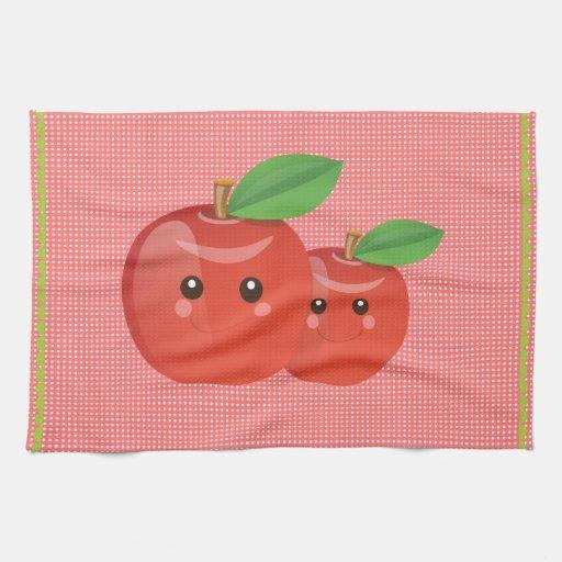 Toalla de té de las manzanas de Kawaii