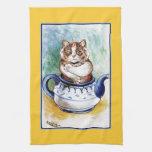 Toalla de té del gato de la tetera de Louis Wain d