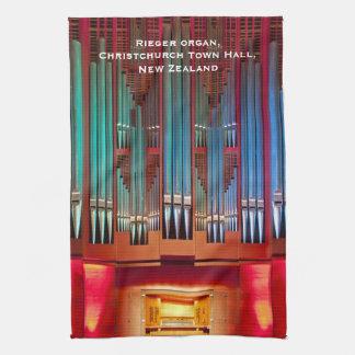 Toalla de té del órgano de Christchurch con el tex